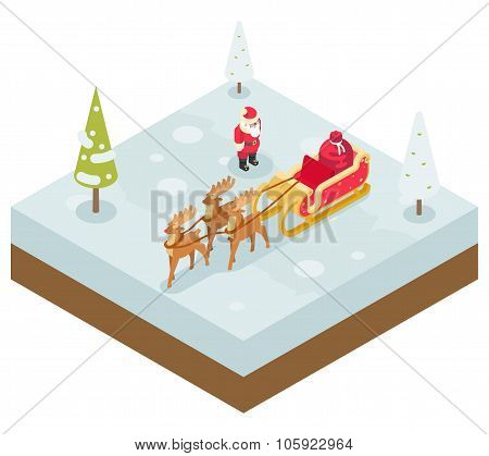 Santa Claus Grandfather Frost  Sleigh Reindeer Gifts New Year Christmas Isometric 3d Flat Design Ico