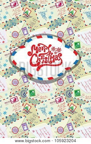 Greeting Card With Xmas Stamps, Envelops, Labels, Cards, Hand Written Texts, Christmas And New Year