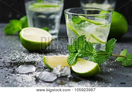 Mojito Cocktail In A Bur On A Rustic Table