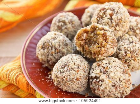 Healthy homemade candies witn nuts and dry fruits