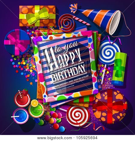 Birthday card with gift boxes, cocktails, lollipops, party hat and confetti. Vector.