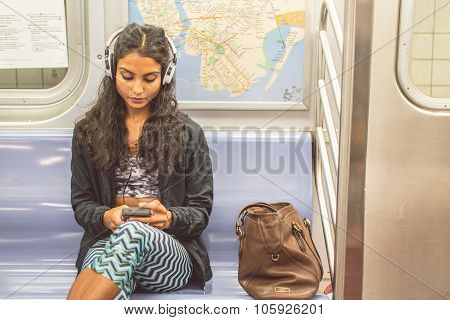 Woman In A Subway Wagon
