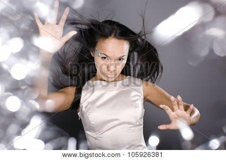 fashion portrait beauty ice lady splashes of light in studio, creative make up