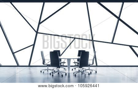 A Meeting Room In A Bright Contemporary Panoramic Office Space With White Copy Space In The Windows.