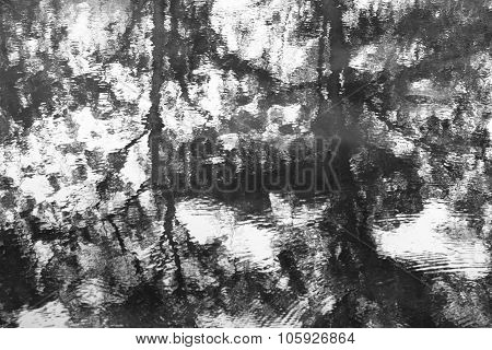 Texture Detail Background Of Reflection Of Water In Motion., Black And White.