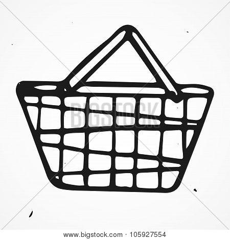 Cartoon shopping basket, hand drawn