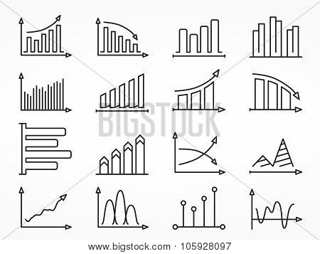 Graph Line Icons Set
