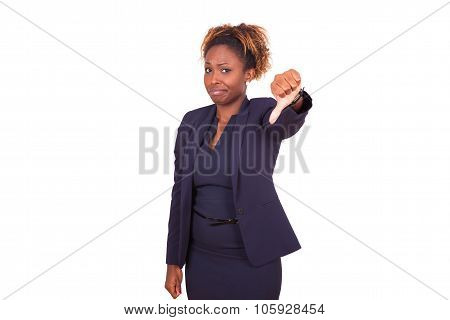 African American Business Woman Making Thumbs Down Gesture