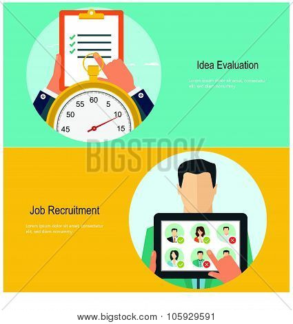 Concepts for web banners and promotions. Flat design concepts for job recruitment