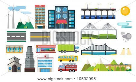 Buildings and city transport flat style illustration. Flat design city downtown background. Roads and city buildings, sky and mountains. City town market, hospital, church, shop, bus, bridges