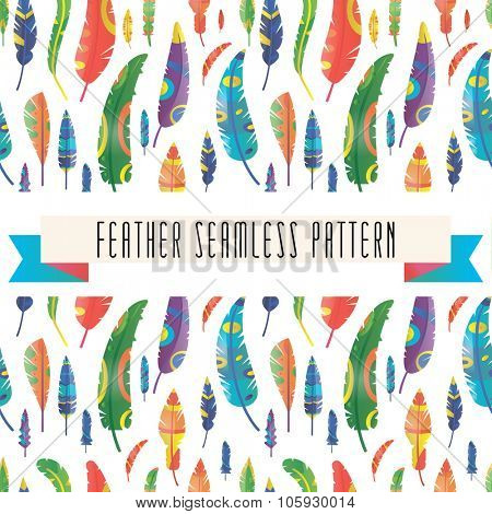 Feathers vector seamless pattern. Feather vector illustration. Colorful vector feathers seamless. Pattern texture feather. Feather background. Feather vector pattern illustration. Feather icons