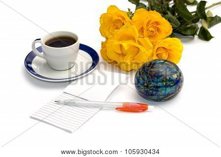 Bouquet Of Yellow Roses, Coffee, The Globe And Notebook With The Handle, Isolate
