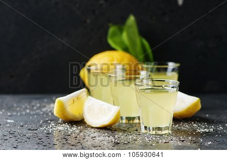 Italian Traditional Liqueur Limoncello With Lemon