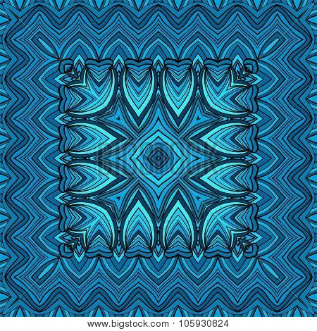 Bandanna With Geometric Elements In Blue Tones, Vector Illustration