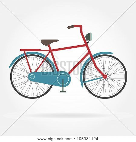 Bicycle icon isolated on white background. Retro styled or vintage image of bicycle. Colorful vector