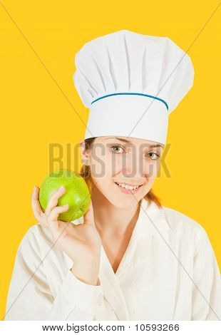 Cook Holding Green Apple