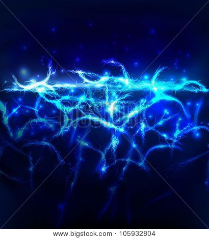 Abstract background made of electric lighting, thunder storm effect.
