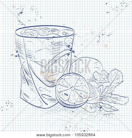Caipirinha on a notebook page