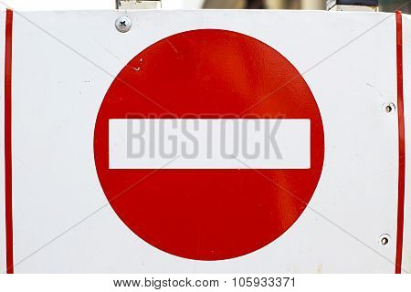 old no entry traffic sign metal plate
