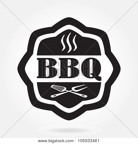 Barbecue label or BBQ stamp isolated on white background. Grill menu design template. Vector illustr