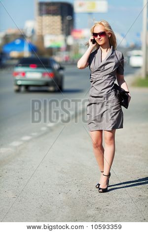 Young Woman On A City Street.
