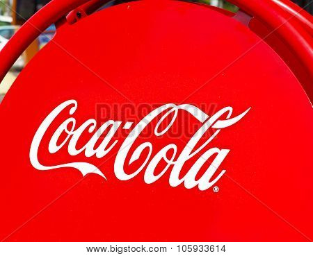 Tel - Aviv, Israel - October 19, 2015: Coca-Cola shield on October 19, 2015 in Tel - Aviv, Israel. The Coca-Cola Company is an American multinational beverage corporation and manufacturer.