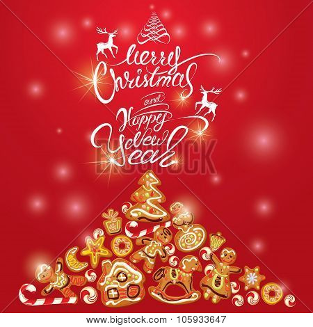 Greeting Holiday Card Of Xmas Gingerbread - Cookies In Angel, Star, House, Horse, Reindeer And Fir-t