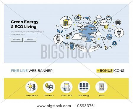 Green Energy Flat Line Banner