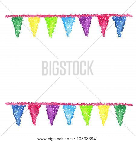 Bunting background. Engraving pennants.