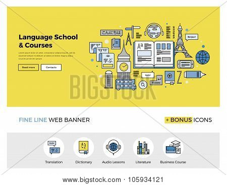 Language School Flat Line Banner