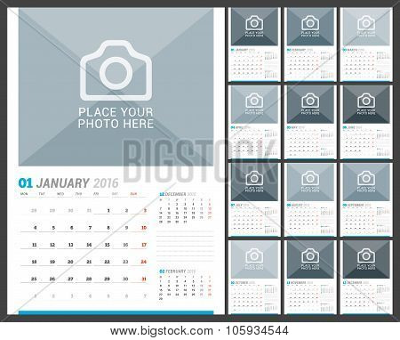 Wall Monthly Calendar For 2016 Year. Vector Design Print Template With Place For Photo And Place For