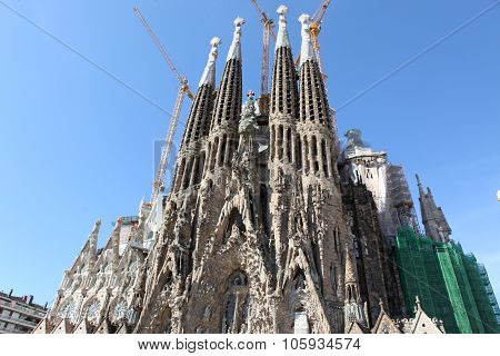 BARCELONA SPAIN - JUNE 9: La Sagrada Familia - the impressive cathedral designed by Gaudi which is b