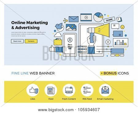 Online Marketing Flat Line Banner