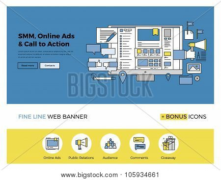Social Media Marketing Flat Line Banner