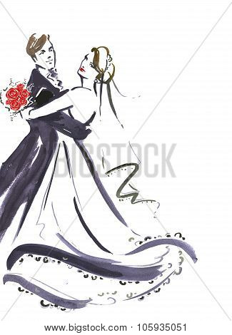 Wedding dancing couple . Silhouette of bride and groom.Wedding invitation.Wedding card.