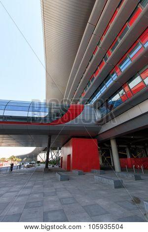 Abu Dhabi, Uae - October 10, 2014: Exterior Of The Ferrari World At Yas Island In Abu Dhabi, United