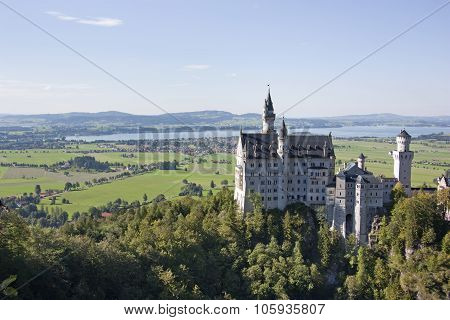 Bavaria, Germany- August 1 2011:  View of the famous and beautiful castle Neuschwanstein