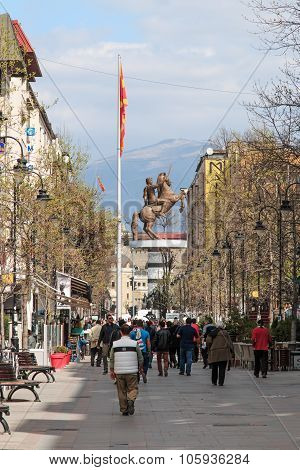 Skopje, Macedonia - April 3 2014: Skopje main street full of tourists walking by