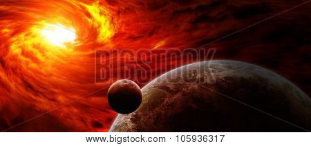 Red Nebula In Space With Planet Earth