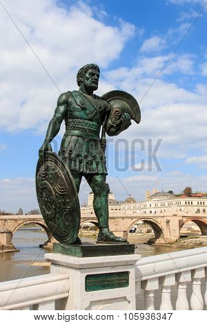 Statue Of Macedonian Warrior In Skopje