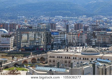 Skopje Macedonia - April 12 2014: Square Makedonia and Stone bridge view from the old fortress.