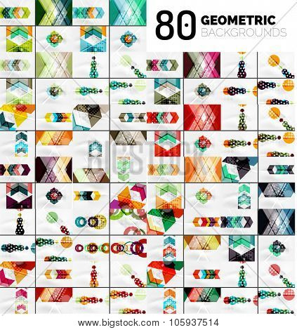 Huge mega collection of geometric shape abstract backgrounds. Vector illustrations