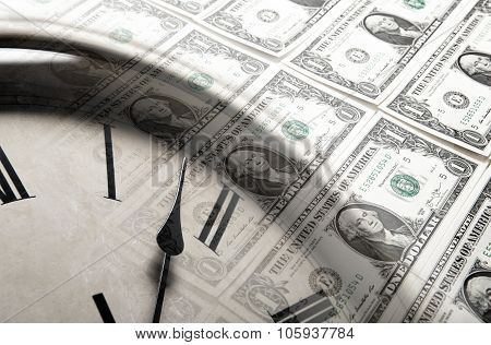 Clock On The Background Of Banknotes Dollars