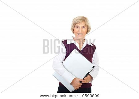 Happy Senior Executive With Laptop