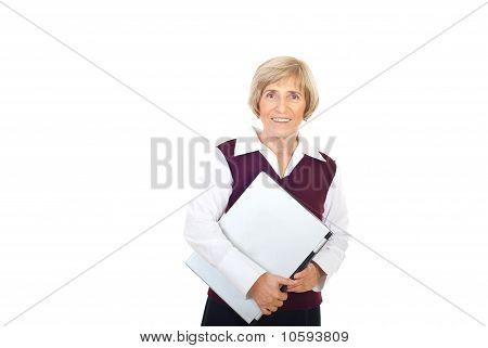 Happy Senior Executive With Laptop