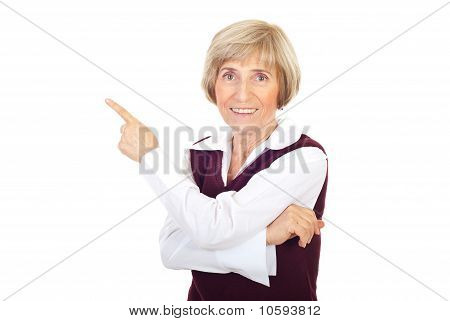 Senior Business Woman  Pointing