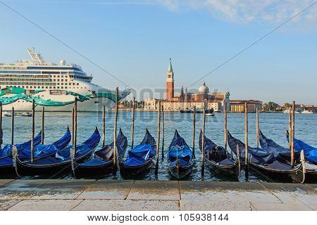 Cruise Ship In Front Of San Giorgio Maggiore Church. Venice, Italy