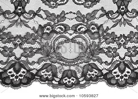 Black Fine Lace Floral Texture