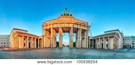 Panorama Of Brandenburg Gate During The Sunrise In Berlin, Germany