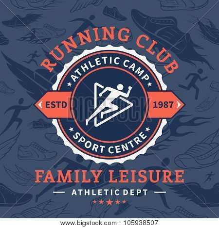 Running Club Label Template Over Running Shoes And Running Men Seamless Pattern